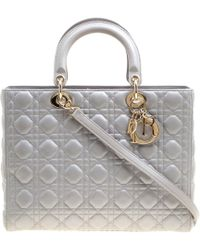 Dior Lady Grey Leather Handbag - Gray
