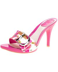 Dior - Printed Cotton Peep Toe Slide Clogs - Lyst