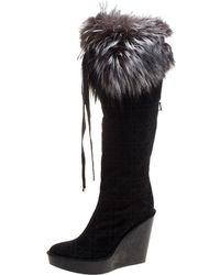 42f70f7ca85 Dior - Cannage Suede Fox Fur Trim Knee High Wedge Boots - Lyst