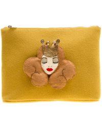 Charlotte Olympia - Yellow Wool Sleeping Beauty Felt Pouch - Lyst