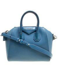 Givenchy - Blue Leather Mini Antigona Top Handle Bag - Lyst