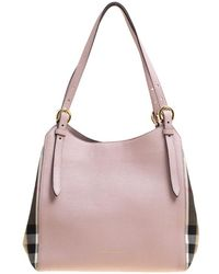 Burberry - Lilac Leather And House Check Fabric Small Canterbury Tote - Lyst