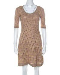 M Missoni - Multicolor Geometric Motif Knit Fit And Flare Dress S - Lyst