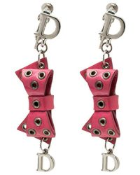 Dior - Bow Patent Leather Drop Earrings - Lyst