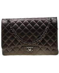 cc9c16bbcecd7a Chanel - Seaweed Green Quilted Leather Maxi Classic Double Flap Bag - Lyst