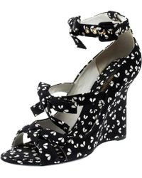 7aa7ef5d099 Louis Vuitton Black Printed Fabric Bow Ankle Strap Wedges Sandals Size 38