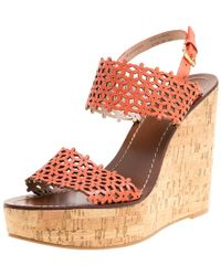 3d03a2deb54b Tory Burch - Coral Red Perforated Leather Daisy Cork Wedge Sandals Size  39.5 - Lyst