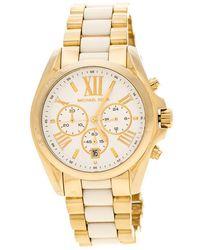 Michael Kors - Silver White Yellow Plated Steel Ceramic Bradshaw Mk5743 Women's Wristwatch 43 Mm - Lyst