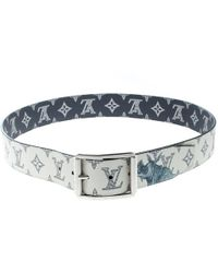 5b728382192da Louis Vuitton - White blue Monogram Savane Canvas Chapman Brothers Reverso  Belt Size 95 Cm