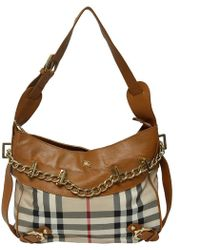 Burberry - House Check Canvas And Leather Shoulder Bag - Lyst