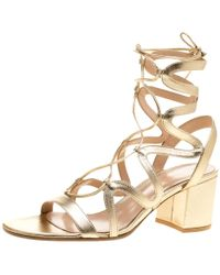 Gianvito Rossi - Gold Leather Artemis Block Heel Gladiator Sandals - Lyst