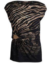 f7cd915db Roberto Cavalli - Animal Print Knit Brooch Detail Ruched Top M - Lyst