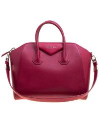 Givenchy - Magenta Leather Medium Antigona Satchel - Lyst