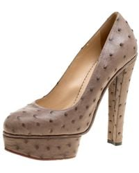 ada5fb2ecb92 Charlotte Olympia - Taupe Ostrich Leather Greta Platform Court Shoes - Lyst