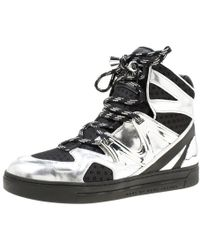 Marc By Marc Jacobs Metallic Silver/black Leather And Mesh High Top Trainers Size 38