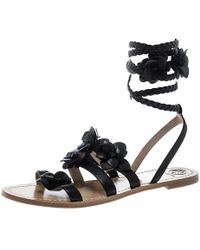6f5e338e7b651b Tory Burch - Leather Blossom Floral Embellished Gladiator Sandals - Lyst