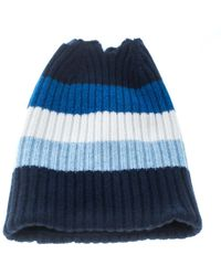 02f98a7105d Burberry - Blue Striped Rib Knit Cashmere Open Top Beanie - Lyst