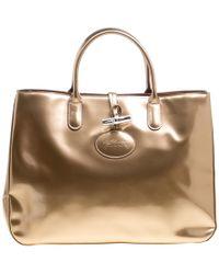 9dc323f7c102 Longchamp - Metallic Patent Leather Roseau Tote - Lyst