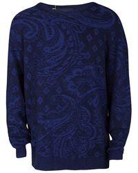 Etro - Navy Blue Cotton Cashmere Patterned Knit Jumper 2xl - Lyst