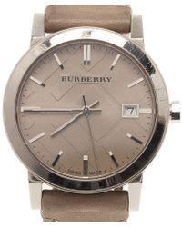 Burberry - Stainless Steel Heymarket Women's Wristwatch 38mm - Lyst