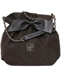 Carolina Herrera - Dark Nylon Drawstring Shoulder Bag - Lyst