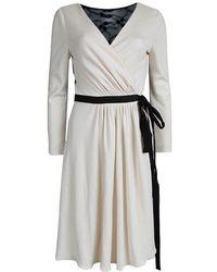 Diane von Furstenberg - Monochrome Lace Detail Seduction Wrap Dress L - Lyst