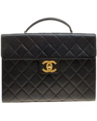 Chanel - Quilted Leather Vintage Classic Flap Top Handle Briefcase - Lyst
