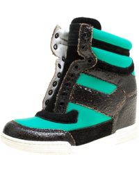 Marc By Marc Jacobs - Green Knit And Crackled Leather Lace-less Wedge High Top Trainers - Lyst