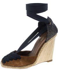 Aquazzura - /navy Blue Suede And Grosgrain Malibu Wedge Espadrille Sandals - Lyst