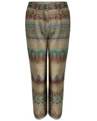 Etro - Aztec Printed Textured Fringed Bottom Trousers S - Lyst