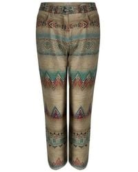 Etro - Beige Aztec Printed Textured Fringed Bottom Trousers S - Lyst