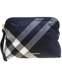 Burberry - Navy Smoked Check Nylon Large Pouch - Lyst
