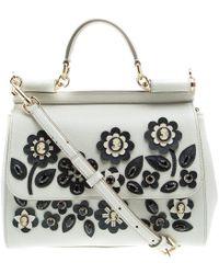 Dolce & Gabbana - Off Leather Medium Jewel Embellished Miss Sicily Top Handle Bag - Lyst
