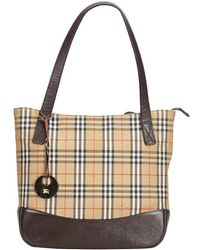 046563c36f6e Burberry - Brown Plaid Coated Canvas Tote Bag - Lyst