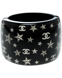 Chanel - Cc Resin Crystal Star Embellished Wide Cuff Bracelet - Lyst