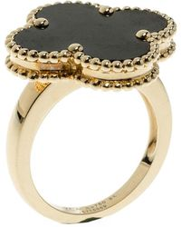 Van Cleef & Arpels - Magic Alhambra Grey Mother Of Pearl 18k Yellow Gold Ring - Lyst