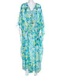 Emilio Pucci - Multicolour Printed Cotton Silk Kaftan ( Free Size ) - Lyst