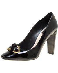 Dior - Patent Leather Knot Detail Square Toe Pumps - Lyst