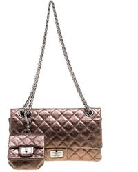 46f061bd7325 Chanel - Bronze Quilted Leather Reissue 2.55 Classic 225 Flap Bag With Coin  Purse Accessories -