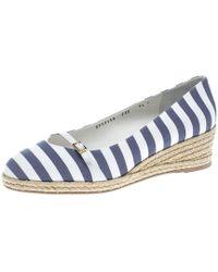 Ferragamo - Two Tone Striped Canvas Audrey Wedge Espadrille Court Shoes - Lyst