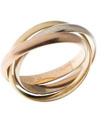 Cartier Vintage Trinity De Three Tone 18k Gold Band Ring Size 52 - Metallic
