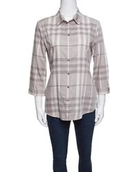 Burberry - Brit Smoked Checked Cotton Long Sleeve Button Front Shirt M - Lyst