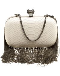 House of Harlow 1960 - Off White Python Embossed Leather Jude Clutch - Lyst