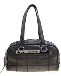 5a3de3de1397 Chanel - Wild Stitch Quilted Caviar Leather East West Bowler Bag - Lyst