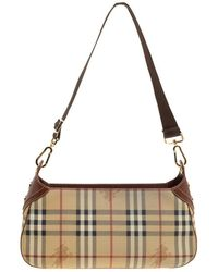 Burberry - Beige copper Haymarket Check Canvas And Leather Shoulder Bag -  Lyst d54b909cab1f0
