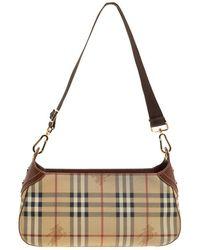 Burberry - Beige copper Haymarket Check Canvas And Leather Shoulder Bag -  Lyst 25417e959ccff