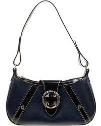 Lancel - Dark Blue Lizard And Leather Shoulder Bag - Lyst