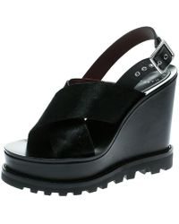 Marc By Marc Jacobs - Pony Hair And Leather Irving Platform Wedge Sandals - Lyst