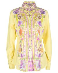 Etro Yellow Floral Printed Cotton Long Sleeve Button Front Shirt L