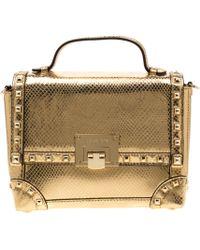 Michael Kors Gold Metallic Snakeskin Embossed Leather Small Tina Trunk Top Handle Bag